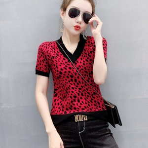 Hot New T-shirt Knit Women's Leopar Tshirt V-neck Spring Summer Knit T-shirt Fashion Slim Skinny Tshirt Sexy Base Shirt