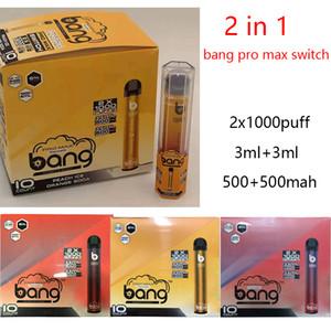 Bang Pro Max Switch 2 in 1 disposable pod device Vape Pen Kit 1000+1000puffs 1000mah Battery 6ml Kit DHL free VS XXL