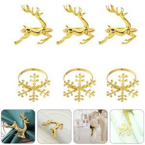 6 Pcs Creative Napkin Buckles Decorative Tissue Buckles Napkin Rings (Golden)