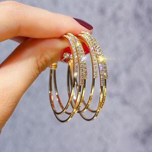 Hoop & Huggie Fashion Korea Women Luxury Exquisite Rhinestone Earrings Triple Layer Geometric Big Circle Piercing Earings Jewelry
