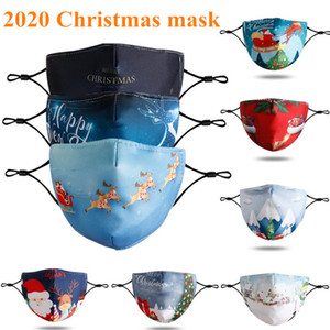 Fiesta de Navidad nuevo de la manera Máscaras Máscara Moda adultos de la historieta lavable Impreso de Santa Barba máscara PM2.5 polvo Haze Máscara 2020
