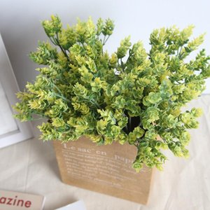 1 Pcs Eucalyptus Grass Artificial Plastic Grass Artificial Flowers Home Wedding Decoration Flower Wall Plant Wall Fake Flower
