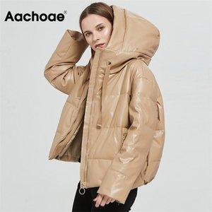 AACHOAE Kadınlar Kalın Sıcak Pu Faux Deri Yastıklı Ceket Kış Fermuar Kapşonlu Ceket Parka Uzun Kollu Cepler Giyim Tops 201029