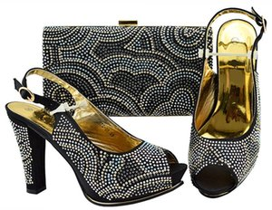 Hot Sale-Fashionable black women pumps with rhinestone design bag for dress african shoes match handbag set JZS-01