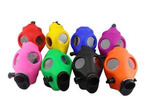 Hookah Shisha water pipe Glass Water Bongs Silicone Skull Hookahs Mask Monochrome Smoke Gun Silicone Hookah Mask Hookahs bong silicone bongs