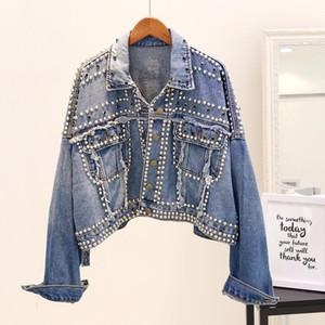 2020 New Autumn Winter Women's Harajuku Denim Jacket Coats Beaded Rivet Short Jeans Jackets Basic Coats Casual Fashion Punk Top