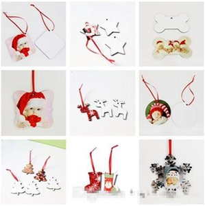 DHL Sublimation Christmas Ornaments MDF Blank Round Square Snow Shape Decorations MDF Hot Transfer Printing Blank Coaster Multi-styles