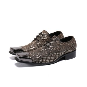 New Gold Snake Pattern Men Party Oxford Zapatos Metal Square Toe Brogue Shoes Lace Up Men Business Men Cuero Vestido Zapatos