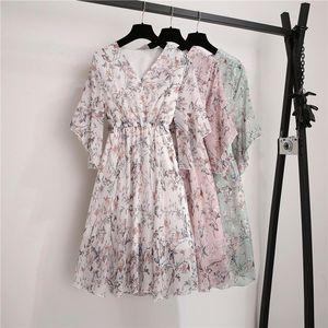 New Spring Summer Chiffon Dress Women V Neck Ruffle Sleeve Print Dresses Sweet Print Slim Elastic Waist Mid length Women Dress