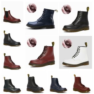 2020 Martin boots men's winter Plush warm high top work clothes shoes medium top cotton shoes men's and women's shoes leather snow boots