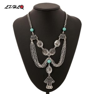 LZHLQ Bohemia Blue Stone Coin Tassel Necklaces 2020 New Fashion Vintage Carved Statement Women Plated Jewelry Pendants Necklace