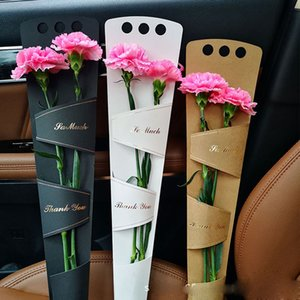 Portable Single Flower Rose Box Kraft Paper Floral Bouquet Wrapping Flowers Gifts Packaging Bags Cases
