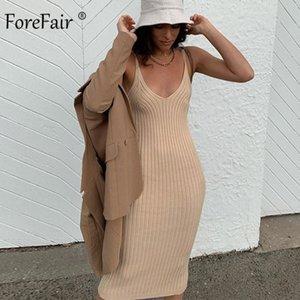 Forefair Off Spalla con scollo a V Collo Basic Called Knit Midi Dress Dress Donna Party Fashion Solido Ginocchio Lunghezza Maglione Sexy Dress Donne C0122
