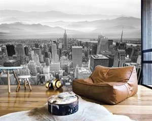 3d Wallpaper Wall American Style Simple Modern Artistic Conception City Distant Mountains Landscape Mural 3d Modern Wallpaper