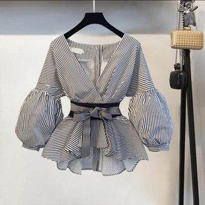 Lantern Sleeve Blouse Shirt Women 2019 Fashion Korean Style Summer Bow V neck Striped Shirt Elegant Ladies Tops Female Clothing