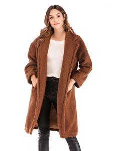 Giyim Moda Uzun Kollu Hırka Peluş Mont Tasarımcı Kadın Kış Rahat Gevşek Uzun Ceket Düz Renk Bayan