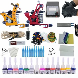 Complete Tattoo Kit 2 Tattoo Machines Gun Black Ink Set Power Supply Grips Body Arts Tools Set Permanent Makeup
