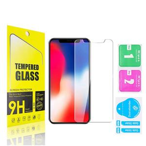 Venta al por mayor Película protectora de telefonía celular de cristal para iPhone 9H Protector de pantalla anti-arañazos con caja de venta libre envío gratis