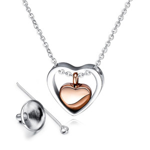Unisex Fashion Jewelry 316 Stainless Steel Chain Women Men Heart Pendants Empty Perfume Pet Ashes Necklaces
