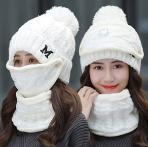 Sombreros de punto invierno mujeres sombrero mascarilla de mujer conjuntillo de válvula de respiración Sombrero de lana con bufanda Ski Sombrero de cálido Suministros de fiesta GWC4474