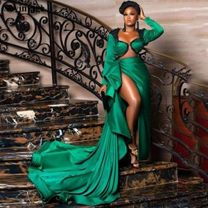 Hunter Green Mermaid Split Celebrity Party Dress Long Sleeves Mermaid Evening Dress Appliques Lace Prom Gowns