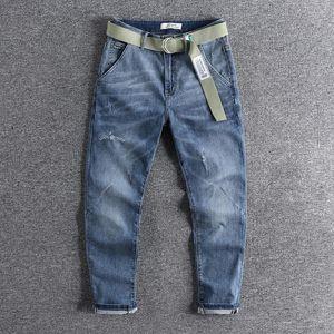 2020 con cintura luce blu American Fashion Men's Moda Nine Point Jeans Cat Whisker Gedding leggings pantaloni conico 0743
