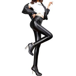 Faux Leather High Waist Leggings Women Pants Woman Black Sexy Compression Women's Trousers Ladies Waisted Push Up Legging Femme Q1119
