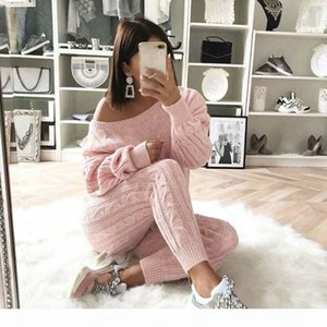 Womens Ladies Solid Off Shoulder Cable Knitted Warm 2PC Loungewear Suit Set autumn sweater women 2018 sweater woman winter plaid