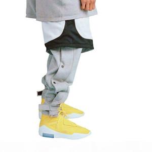 Ankle-length Loose Fit Snap Sweatpants Men Hip hop Baggy Cotton Terry Pants Y19061001