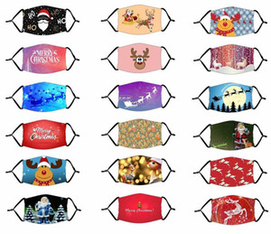 2020 Christmas Face Mask Washable Reusable Mouth Masks Ice Silk Cloth Breathable Anti Dust Protective Adult Kids Fashion Party Masks FY4223