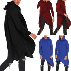 Hombres New Style Fashion Solid Split Split Sudadera Casual Con Sombrero Outwear Pullover Cuna Long Long Cloak Tops Casuales Calientes