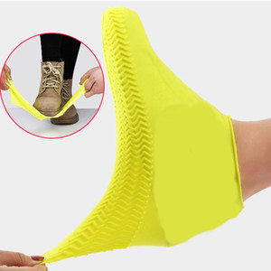 Classic Silicone Reusable Waterproof Rain Boot Covers Non-slip Thickened Outdoor Overshoes Women Men Shoe Protector Q1218
