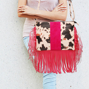 Leopard Tassel Crossbody Bag Cowhide Women Rivet Clutch Purse Pink Leather Handbag DOM1061208