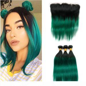 # 1B Yeşil Ombre Düz Brezilyalı Saç Atkılar Frontal Siyah Ile Koyu Yeşil Ombre İnsan Saç Örgüleri 13x4 Dantel Frontal ile 3bundles