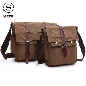 Scione Retro Men Messenger Canvas Handbags Leisure Work Travel Bag Man Business Crossbody Bags Briefcase for Male Bolsas Q1129