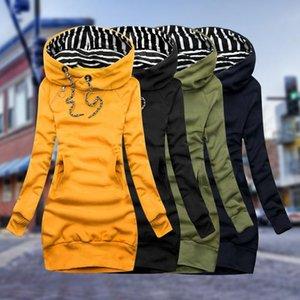 Fashion Women Sweatshirt Pullover Hoodies Long Sleeve Dress Hooded Striped Tops Drawstring Sweatshirts Slim Long Hoodies 2020