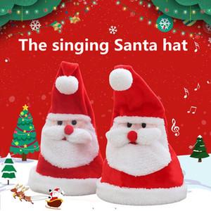 Canto santa sombrero navidad swing de vuelta hacia fuera sombrero gracioso sacudida bailando gorra cantando santa gorra otras decoraciones festivas navidades wy969