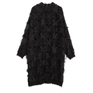 [EAM] 2021 Yeni Bahar Sonbahar Standı Yaka Uzun Kollu Perspektif Siyah Gevşek Püsküller Büyük Boy Elbise Kadın Moda Gelgit Ji780 C0122