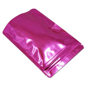 Stand Up Glossy Pink Mylar Foil Foil Food Zip Block Parech Package Bag Reseabile Zipper Zipper in alluminio Borsa da imballaggio per stoccaggio 100pcs lotto H Bbyvvi