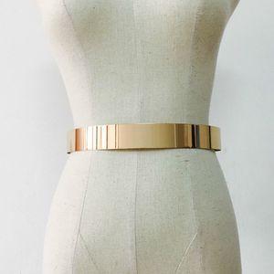Fashion Women Adjustable Metal Waist Belt Bling Gold Silver Color Plate Vintage Lady Simple Belts Mirror Waistband