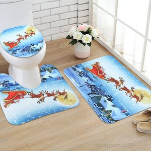 HOT!!!1 Set Non-Slip Christmas Style Pedestal Rug+Lid Toilet Cover+Bath Mat Bathroom Decoration