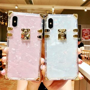 Transparent square shell pattern phone cases For iphone 12 11pro Luxurious shockproof cover for iphone x 6 7 8