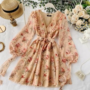 2019 new fashion womens dresses Popular French Puff Sleeve V Neck Lace Floral Dress Drop Shipping Good Quality