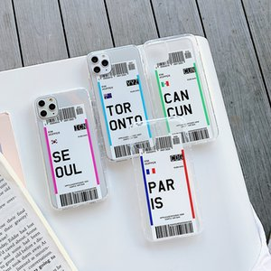 INS US City Air Tickets Phone Cases For iPhone 11 Pro XR X XS Max 10 8 7 6 6s Plus Flight Ticket Letter Soft Silicone Back Cover