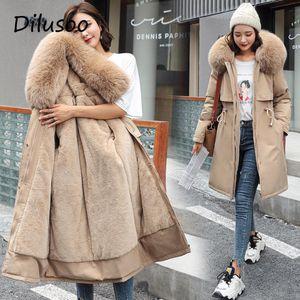 Dilusoo 2020 Cotton Liner Parker Fashion Adjustable Waist Fur Collar Winter Jacket Women Solid Long Hooded Parka Coats