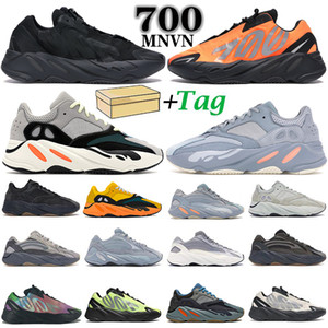 NOUVEAU 700 V2 Runner Solid Grey Inertia MNVN Orange Phosphor Hommes Femmes Running Shoes Analog Carbon Bleu Statique Entraîneurs Sports Sports Sports