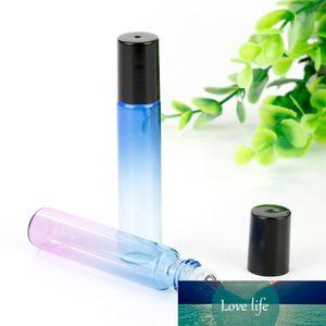 10ml Portable Travel Perfume Refillable Bottles Gradient Color Essential Oil Glass Bottle Stainless Steel Roller Ball Bottle