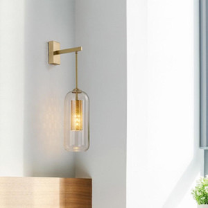 LukLoy LED Copper Wall Lamp Postmodern Minimalist Sconce Nordic Bedroom Wall Light Bedside Light Luxury Creative For Living Room