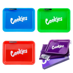 Cookies Runtz Glow Tray Rechargeable LED Rolling Glow Light Up Auto Party Mode Rolling Trays Dry Herb Rolling Tobacco Storage Tray