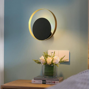 Nordic wall light creative personality living room modern minimalist round aisle bedroom bedside wall lamp 110-240v